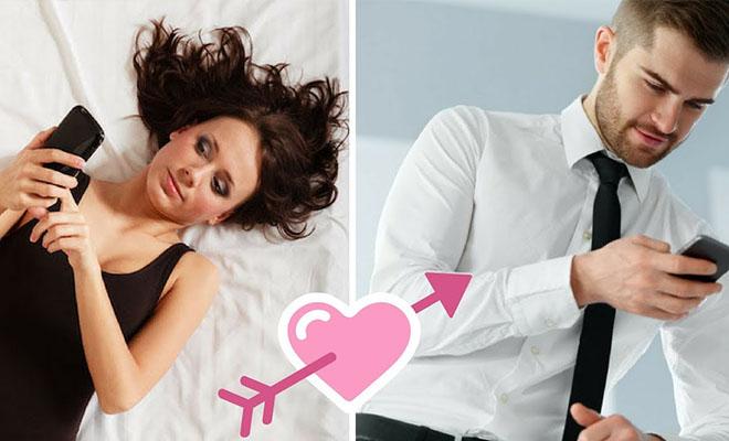 влюбленная пара переписывается по телефону