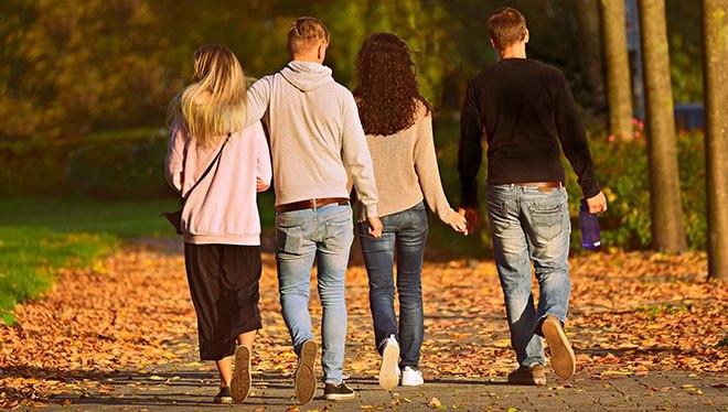 две пары гуляют в парке